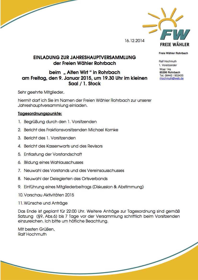 Tagesordnung JHV 09.01.2015